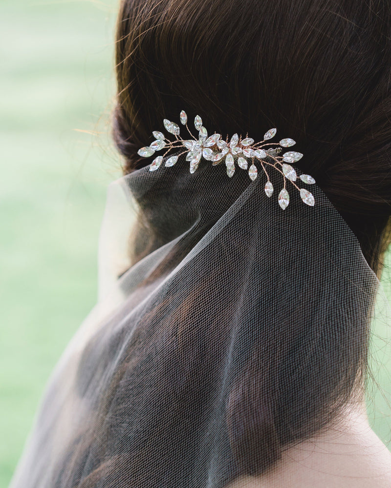 Model wearing Aster Swarovski crystals hair comb