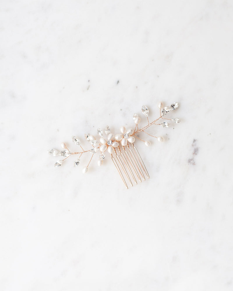 Aster freshwater pearls rose gold hair comb