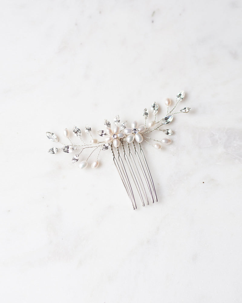 Aster Swarovski crystals freshwater pearls silver hair comb