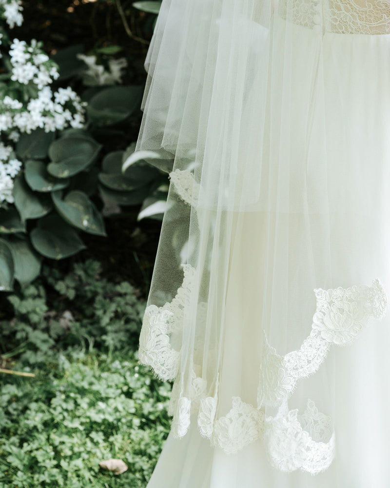 closeup details of Azalea lace bridal veil