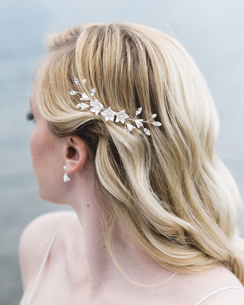 Model wearing Belle Fleur swarovski crystals, freshwater pearls, flower hair comb