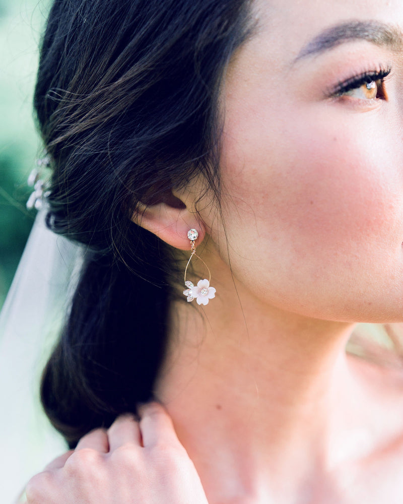 Model wearing the Belle Fleur rose gold Earrings with blush flowers, swarovski crystals, freshwater pearl jewellery
