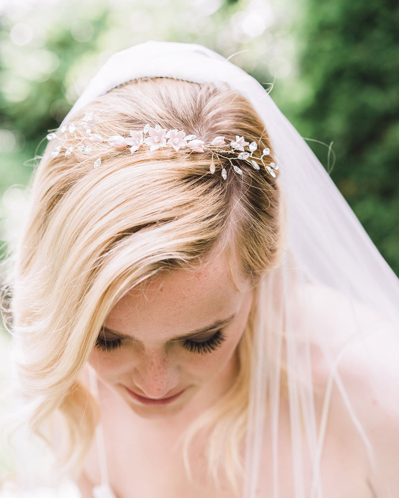 The Belle Fleur Grand gold Bridal hair Comb by Atelier Elise styled as a delicate crown with veil