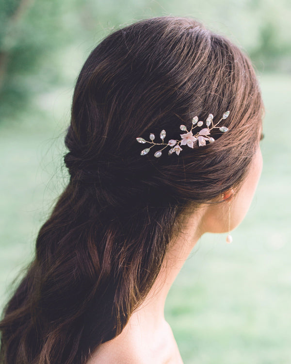 model wearing Belle Fleur gold Hair Pin with swarovski crystal and freshwater pearls half up hair