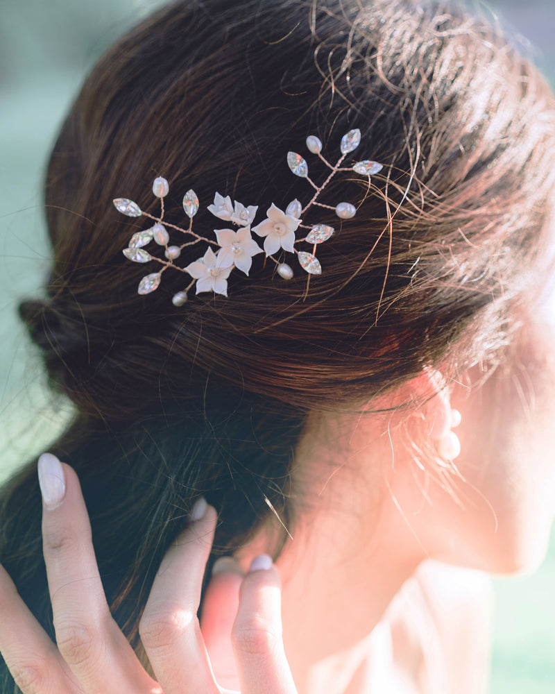 Belle Fleur hair pins with half updo wedding hair