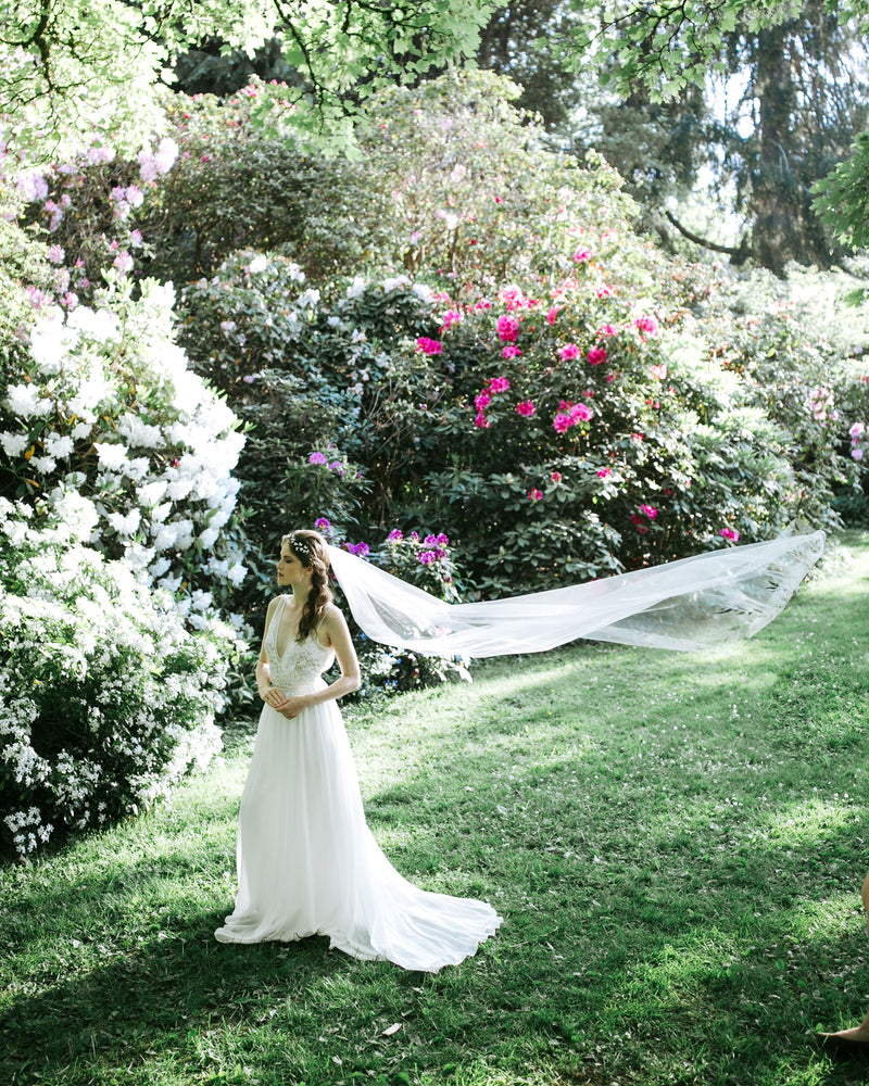 cascading leaves chapel wedding veil tulle