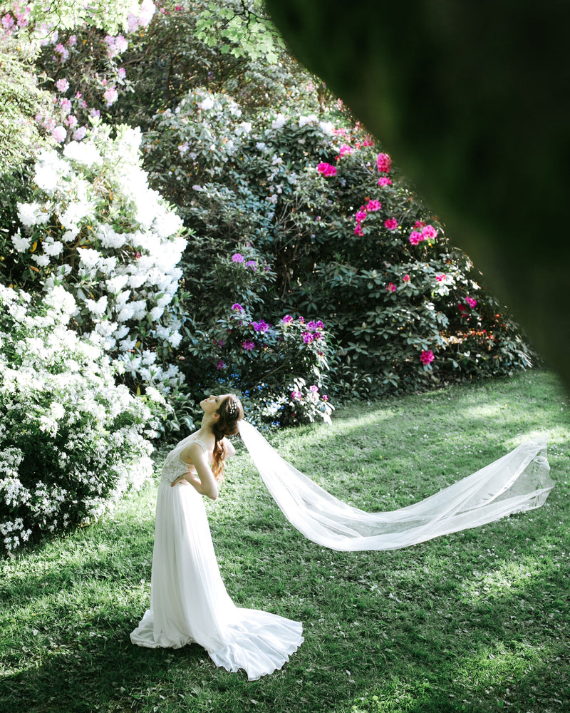 veil photos cascading leaves long chapel wedding veil