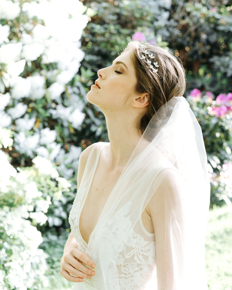 hair up wih veil, cascading leaves chapel bridal veil