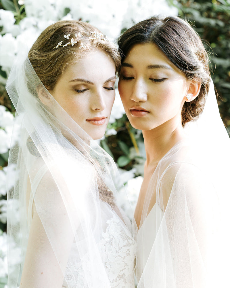veil styling, models wearing bridal tulle veil wedding veil