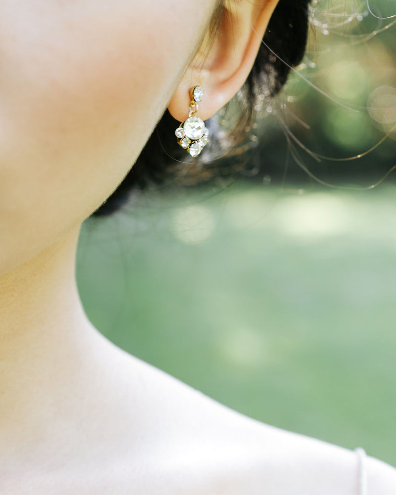 details of the celestial swarovski crystal drop earrings in gold