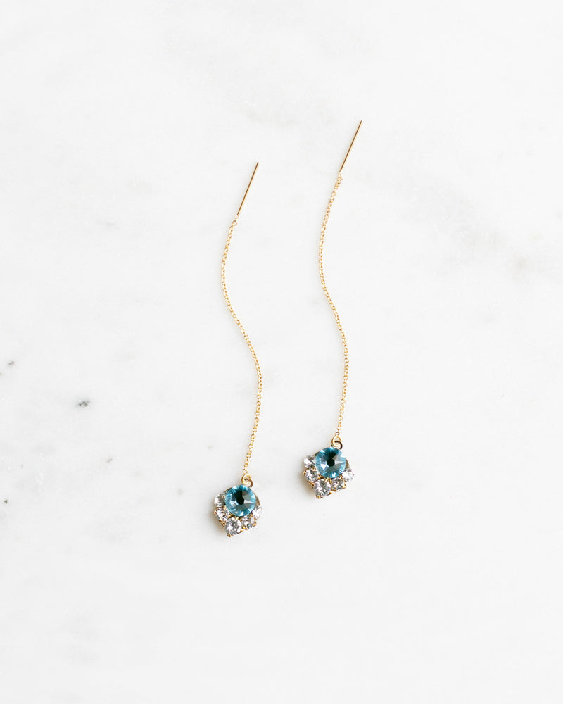 celestial threader bridal earrings in blue and gold