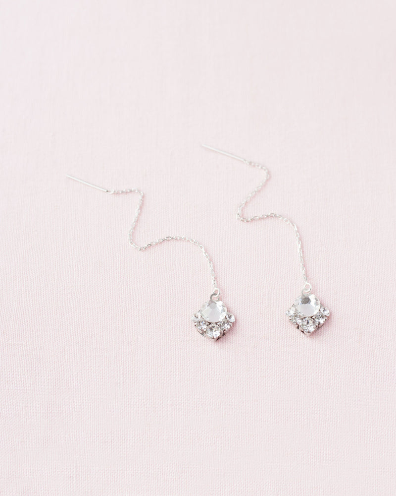 celestial silver threader earring swarovski crystal