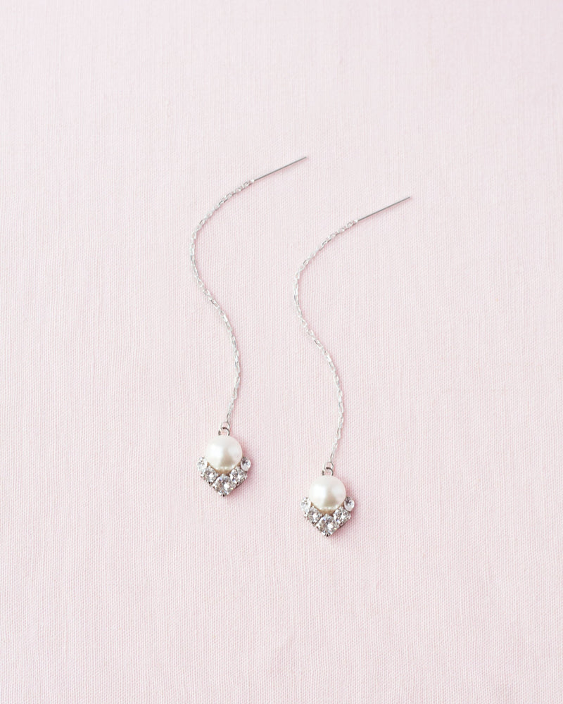 celestial pearl threader drop earrings with swarovski crystal and pearl