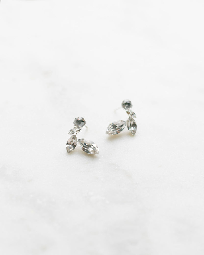 swarovski crystal leaf stud earrings in silver
