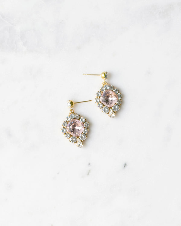 enchanted swarovski crystal drop earrings in gold