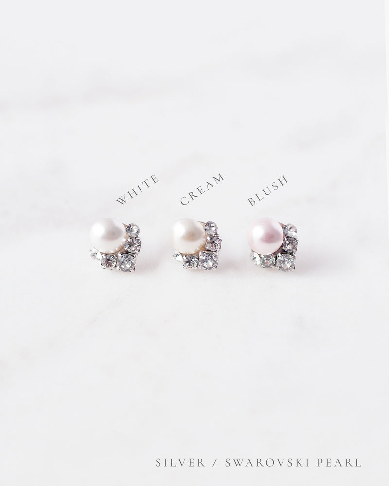 celestial pearl and crystal stud earrings in cream blush white
