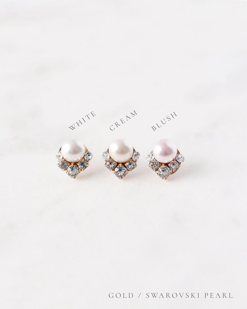 celestial gold pearl earrings in white, cream and blush stud earrings
