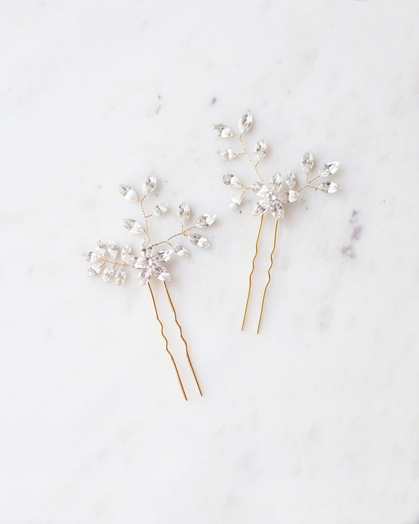 Delicate everthine hair pins in gold swarovski crystal