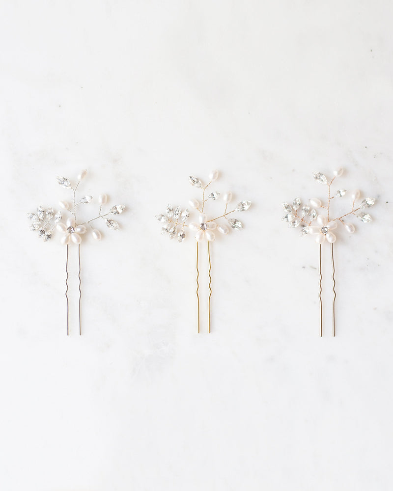 Everthine bridal hair pins with swarovski crystal and freshwater pearls