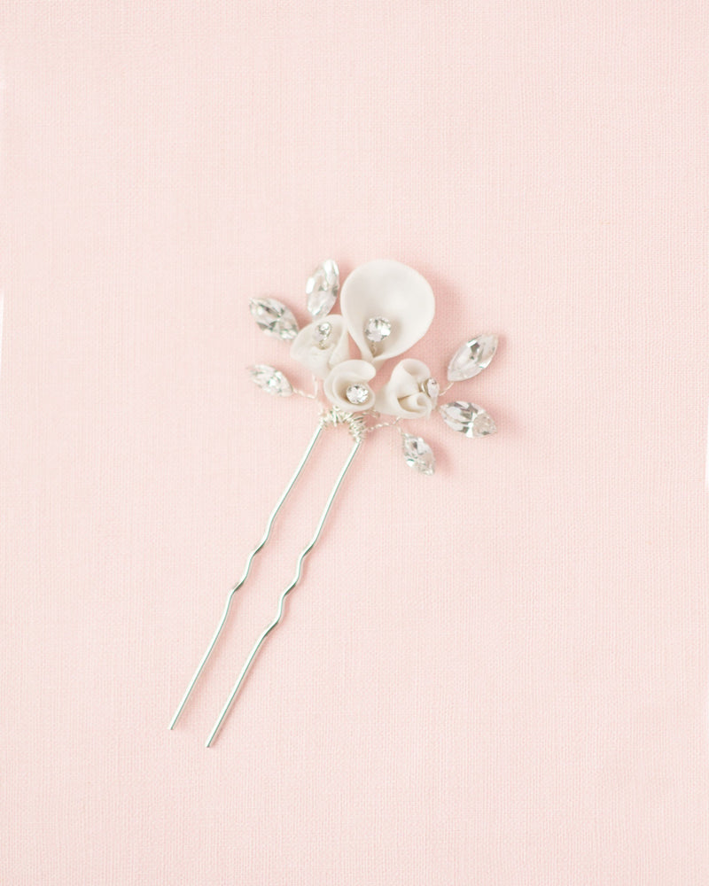 handmade gilded lily hair pin in silver with swarovski crystals