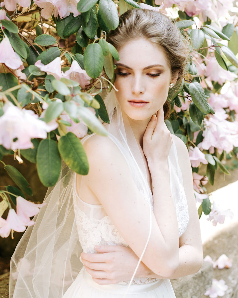 model wearing leila chapel ribbon bridal