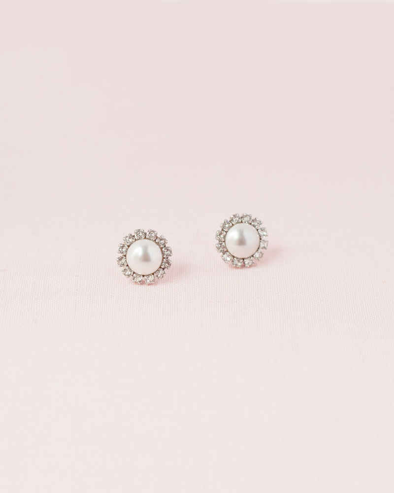 Swarovski crystal halo pearl stud earrings in silver white