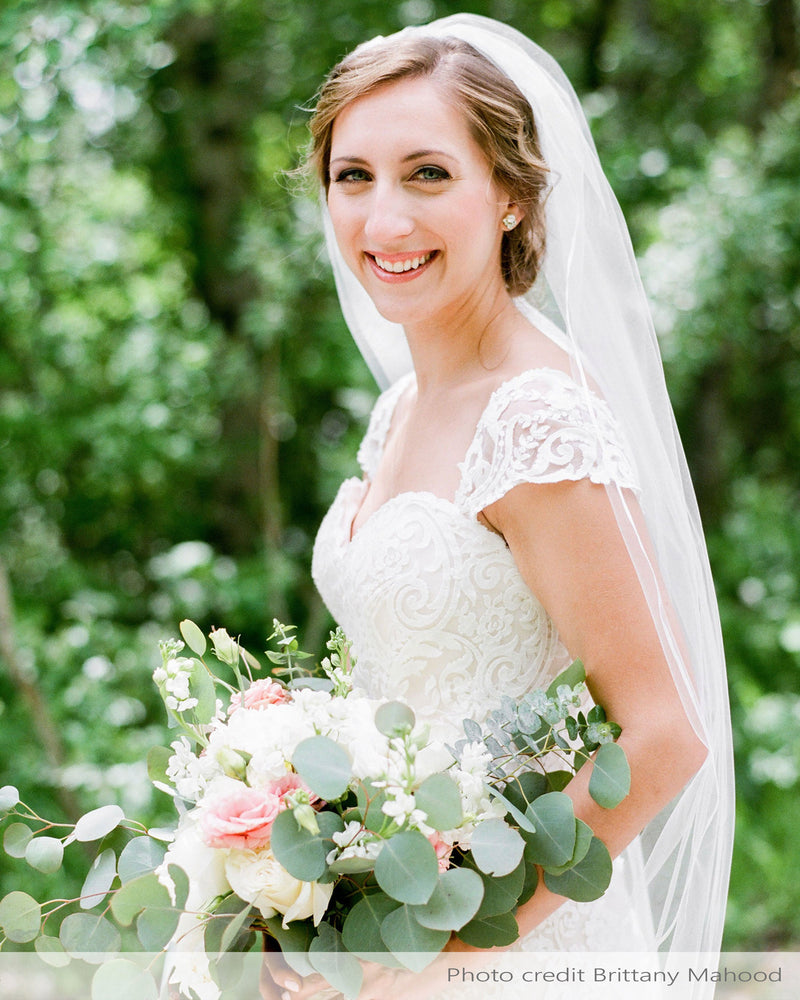 "Real bride in fingertip veil with delicate 3/8"" satin ribbon edge"