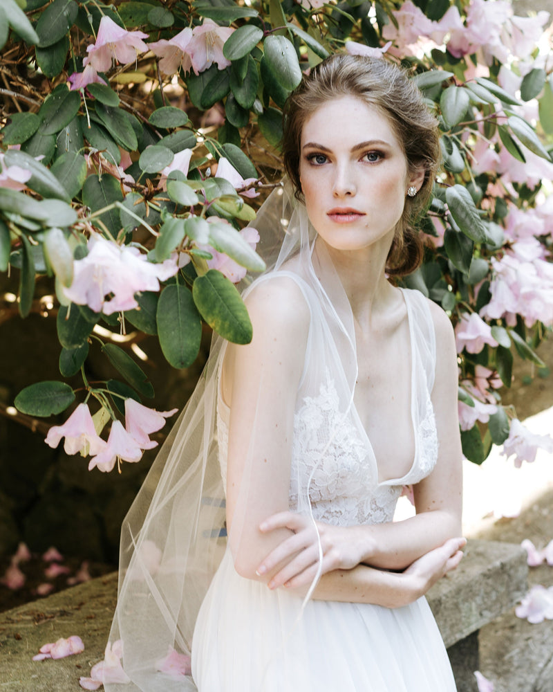 model wearing leila ribbon long wedding veil