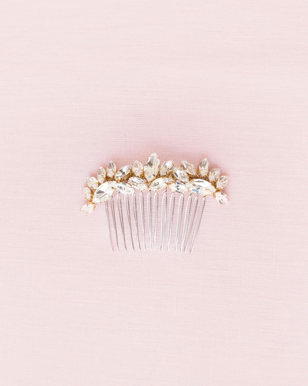 lotus flower crystal cluster hair comb gold