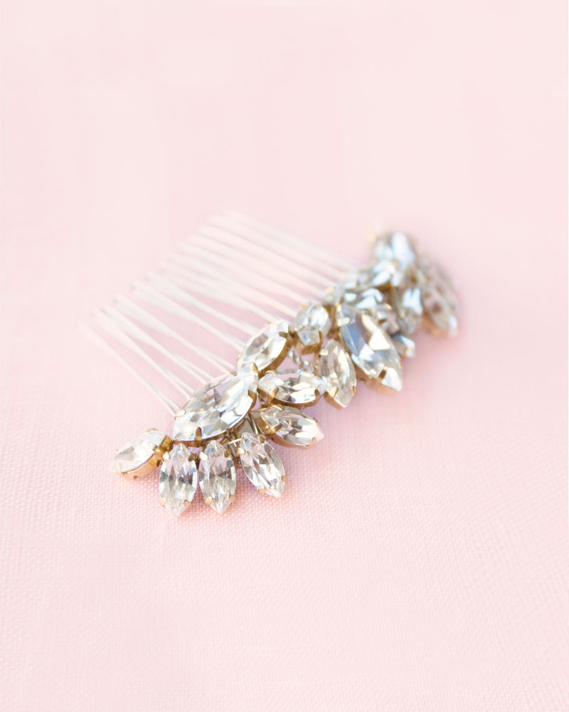 lotus flower crystal starburt hair comb gold