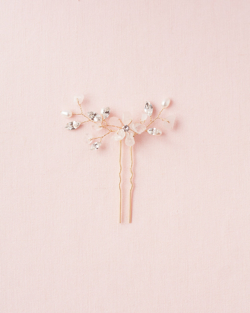 Gold moonflower hair pin with rosequartz, freshwater pearls and swarovski crystals