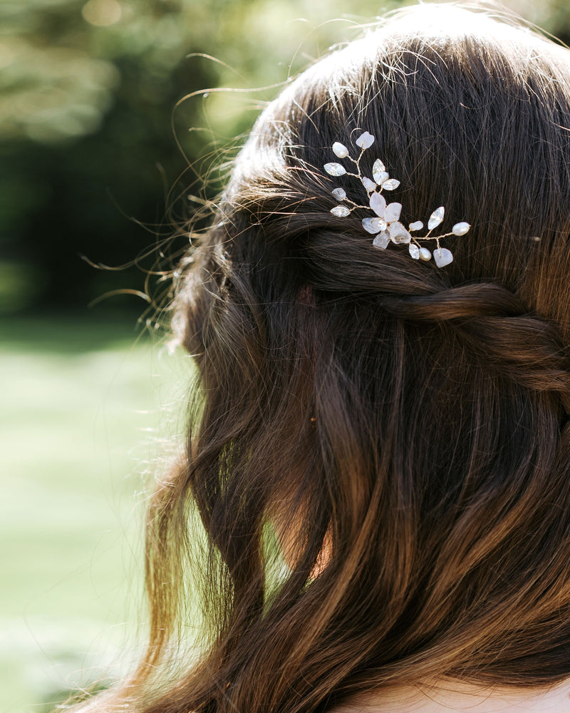 Gold moonflower bridal hair comb with rosequartz, freshwater pearls and swarovski crystals