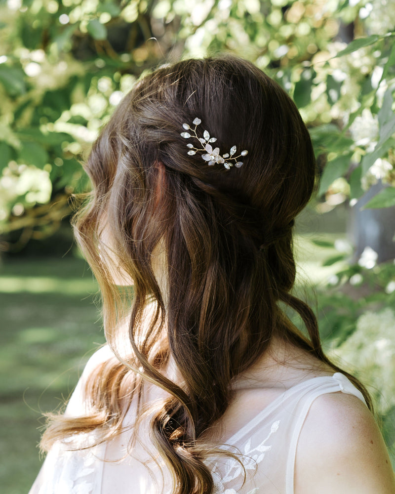 Gold moonflower wedding hair comb with rosequartz, freshwater pearls and swarovski crystals