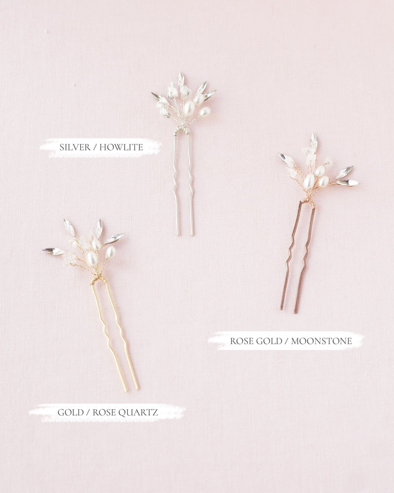 Sea mist hair pins with swarovski crystal and freshwater pearls