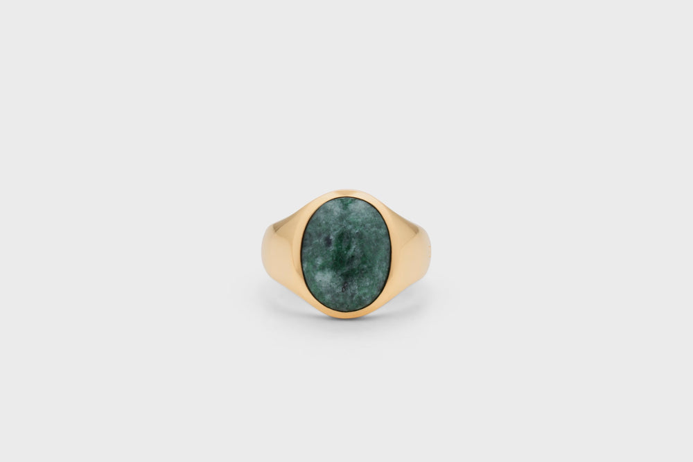 IX Oval Signet Ring Green Marble