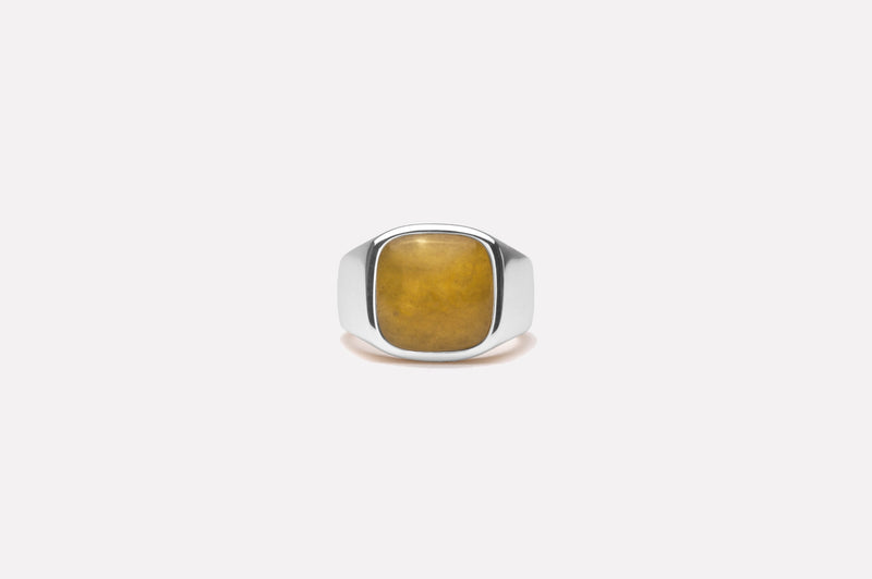 IX Cushion Signet Ring Adventurine Silver