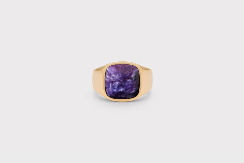 IX Cushion Signet Ring Charoite