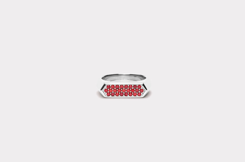 IX Mini Hexagon Ring Red Silver