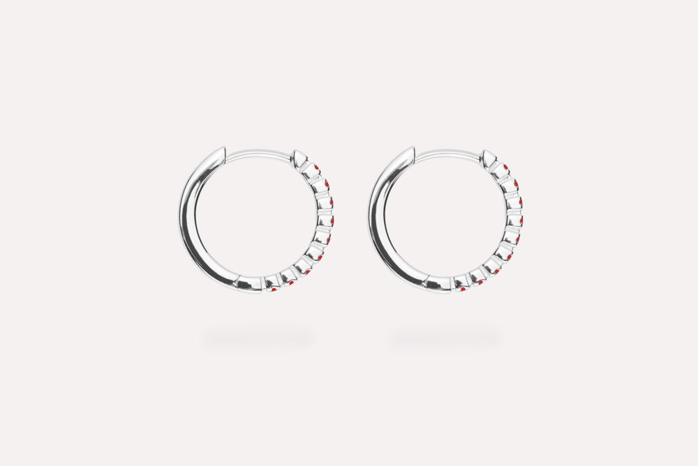 IX ETERNITY RED EARRINGS SILVER