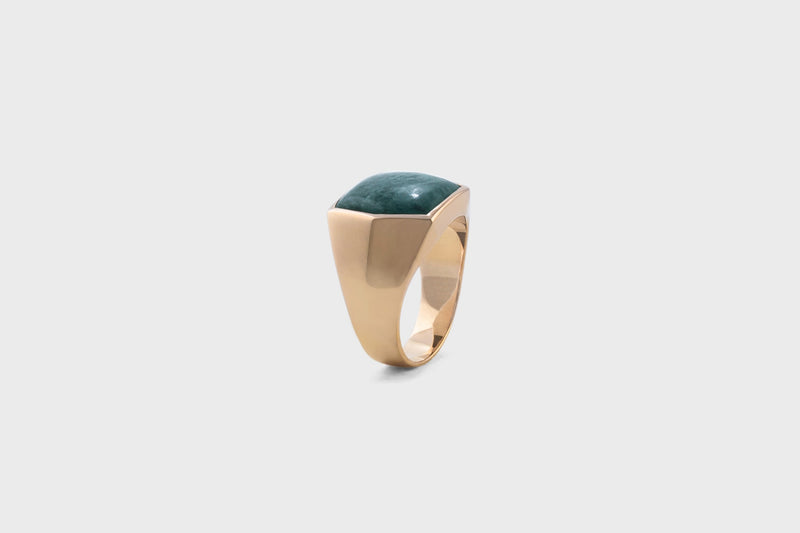 IX Hexagon Signet Ring Green Marble
