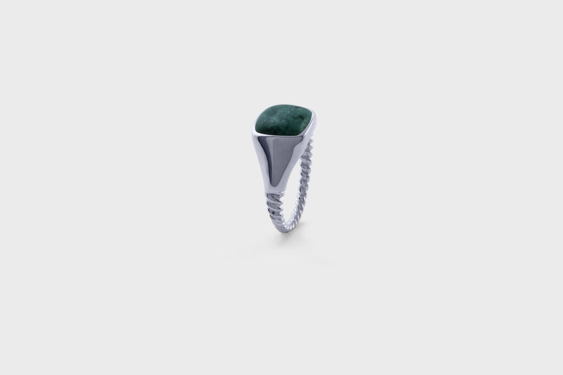 IX Ornate Signet Ring Green Marble Silver