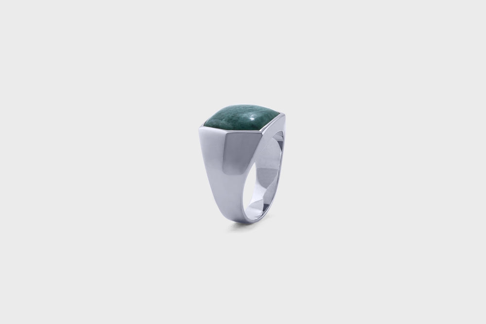 IX Hexagon Signet Ring Green Marble Silver