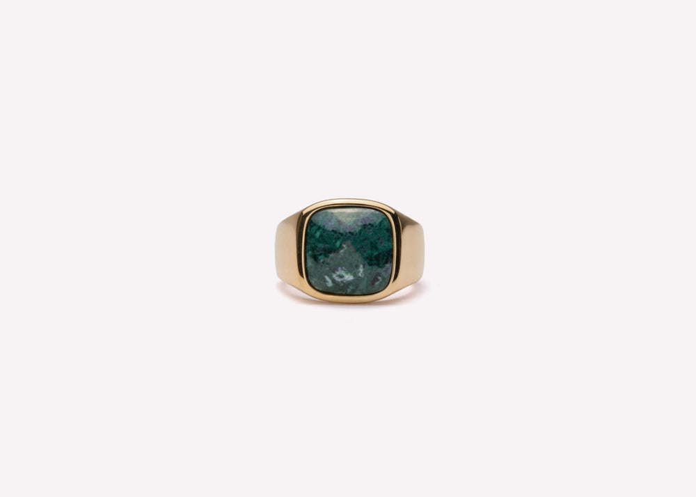 IX Cushion Signet Ring Green Marble Gold