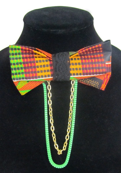 Mambo Tetris w/ Gold & Green Chain Ankara Bow Tie Brooch