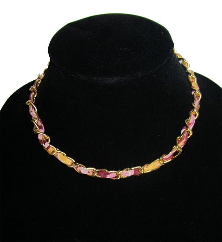 Mauve Tie Dye Ankara Gold Matted Necklace