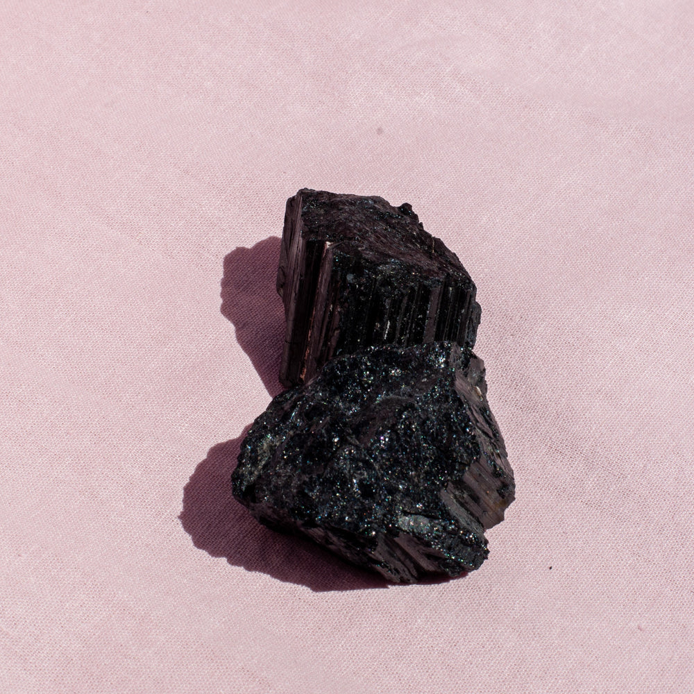 2 x Black Tourmaline Crystal Rough