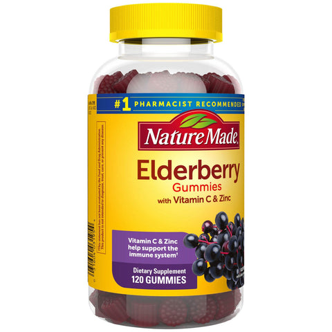 Nature Made Elderberry Gummies with Zinc and Vitamin C, for Immune Support Help (120 ct.)
