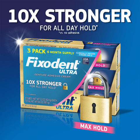 Fixodent Ultra Max Hold Dental Adhesive (2.2 oz., 3 pk.)