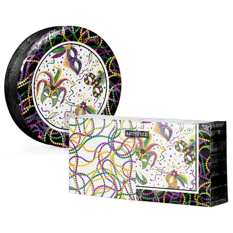 Mardi Gras Masks and Beads Paper Plate and Napkin Kit (290 ct.)