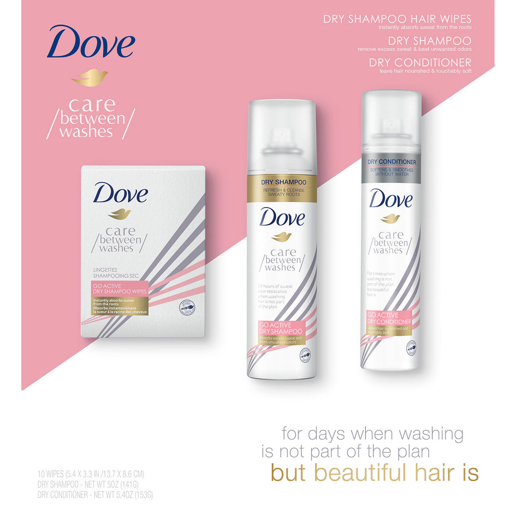 Dove Go Active Dry Shampoo, Conditioner and Sheets (3 pk.)